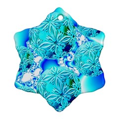 Blue Ice Crystals, Abstract Aqua Azure Cyan Snowflake Ornament (2 Side) by DianeClancy