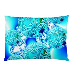 Blue Ice Crystals, Abstract Aqua Azure Cyan Pillow Case (two Sides) by DianeClancy
