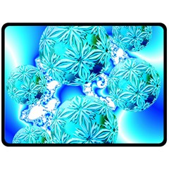 Blue Ice Crystals, Abstract Aqua Azure Cyan Double Sided Fleece Blanket (large)  by DianeClancy