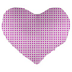 Rigmor Sorroya Retro Pattern Pink Peach White Large 19  Premium Flano Heart Shape Cushions by CircusValleyMall