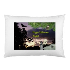 Happy Halloween Night Witch Flying Pillow Case by canvasngiftshop
