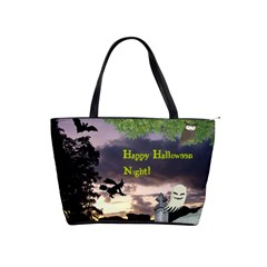 Happy Halloween Night Witch Flying Shoulder Handbags by canvasngiftshop