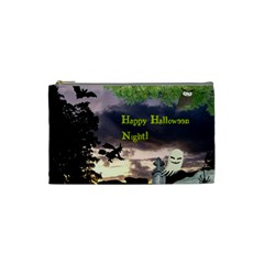 Happy Halloween Night Witch Flying Cosmetic Bag (small)  by canvasngiftshop