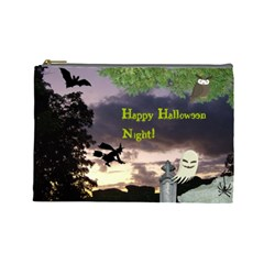 Happy Halloween Night Witch Flying Cosmetic Bag (large)  by canvasngiftshop