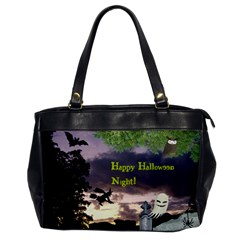 Happy Halloween Night Witch Flying Office Handbags by canvasngiftshop