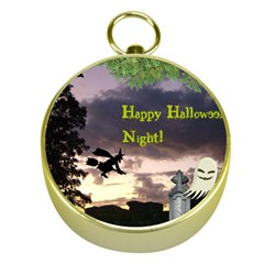 Happy Halloween Night Witch Flying Gold Compasses by canvasngiftshop