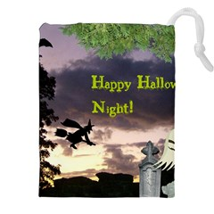 Happy Halloween Night Witch Flying Drawstring Pouches (xxl) by canvasngiftshop