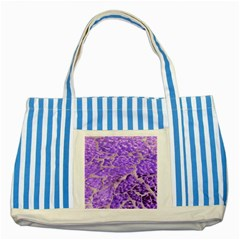 Festive Chic Purple Stone Glitter  Striped Blue Tote Bag by yoursparklingshop