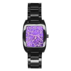 Festive Chic Purple Stone Glitter  Stainless Steel Barrel Watch by yoursparklingshop
