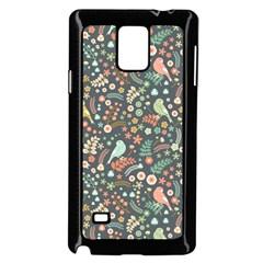 Vintage Flowers And Birds Pattern Samsung Galaxy Note 4 Case (black) by TastefulDesigns