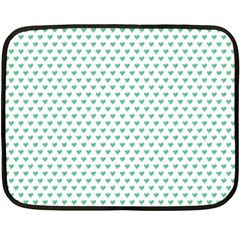 Sea Green Small Hearts Pattern Double Sided Fleece Blanket (mini)  by CircusValleyMall