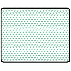 Sea Green Small Hearts Pattern Fleece Blanket (medium)  by CircusValleyMall