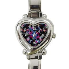Stylized Geometric Floral Ornate Heart Italian Charm Watch by dflcprints