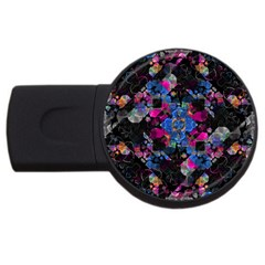 Stylized Geometric Floral Ornate Usb Flash Drive Round (4 Gb)  by dflcprints