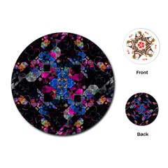 Stylized Geometric Floral Ornate Playing Cards (round)  by dflcprints