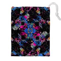 Stylized Geometric Floral Ornate Drawstring Pouches (xxl) by dflcprints