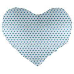 Sky Blue Small Hearts Pattern Large 19  Premium Heart Shape Cushions by CircusValleyMall