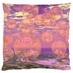 Glorious Skies, Abstract Pink And Yellow Dream Large Flano Cushion Case (two Sides) by DianeClancy