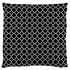 Black White Quatrefoil Classic Pattern Large Flano Cushion Case (one Side) by Zandiepants
