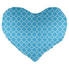 Bright Blue Quatrefoil Pattern Large 19  Premium Flano Heart Shape Cushion by Zandiepants