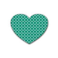 Emerald Green Quatrefoil Pattern Heart Coaster (4 Pack) by Zandiepants