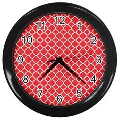Poppy Red Quatrefoil Pattern Wall Clock (black) by Zandiepants