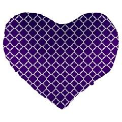 Royal Purple Quatrefoil Pattern Large 19  Premium Heart Shape Cushion by Zandiepants