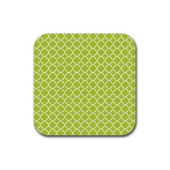Spring Green Quatrefoil Pattern Rubber Square Coaster (4 Pack) by Zandiepants