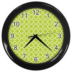 Spring Green Quatrefoil Pattern Wall Clock (black) by Zandiepants