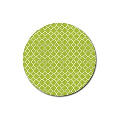 Spring Green Quatrefoil Pattern Rubber Round Coaster (4 Pack) by Zandiepants