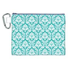 Turquoise Damask Pattern Canvas Cosmetic Bag (xxl)  by Zandiepants