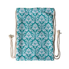 Turquoise Damask Pattern Drawstring Bag (Small) by Zandiepants