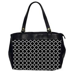 Black & White Quatrefoil Pattern Oversize Office Handbag (2 Sides) by Zandiepants