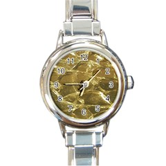 Gold Bar Golden Chic Festive Sparkling Gold  Round Italian Charm Watch by yoursparklingshop