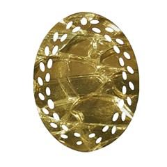 Gold Bar Golden Chic Festive Sparkling Gold  Oval Filigree Ornament (2 Side)  by yoursparklingshop