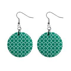 Emerald Green Quatrefoil Pattern 1  Button Earrings by Zandiepants