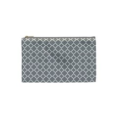 Grey Quatrefoil Pattern Cosmetic Bag (small) by Zandiepants