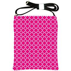 Hot Pink Quatrefoil Pattern Shoulder Sling Bag by Zandiepants