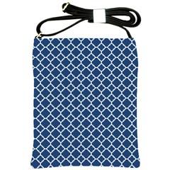 Navy Blue Quatrefoil Pattern Shoulder Sling Bag by Zandiepants