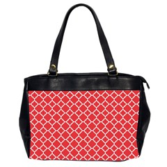 Poppy Red Quatrefoil Pattern Oversize Office Handbag (2 Sides) by Zandiepants