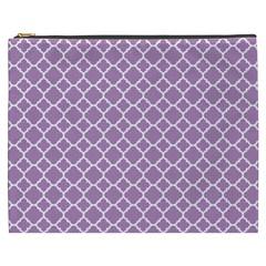 Lilac Purple Quatrefoil Pattern Cosmetic Bag (xxxl) by Zandiepants