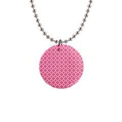 Soft Pink Quatrefoil Pattern 1  Button Necklace by Zandiepants