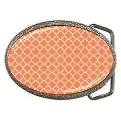 Tangerine orange quatrefoil pattern Belt Buckle by Zandiepants