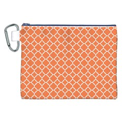 Tangerine Orange Quatrefoil Pattern Canvas Cosmetic Bag (xxl) by Zandiepants