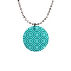 Turquoise Quatrefoil Pattern 1  Button Necklace by Zandiepants