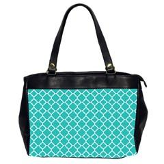 Turquoise Quatrefoil Pattern Oversize Office Handbag (2 Sides) by Zandiepants