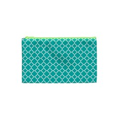 Turquoise Quatrefoil Pattern Cosmetic Bag (xs) by Zandiepants