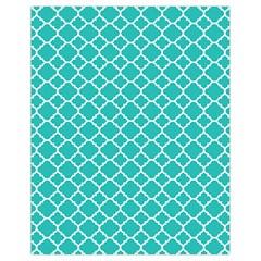 Turquoise Quatrefoil Pattern Drawstring Bag (small) by Zandiepants
