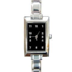 Solid Black Rectangle Italian Charm Watch by Zandiepants