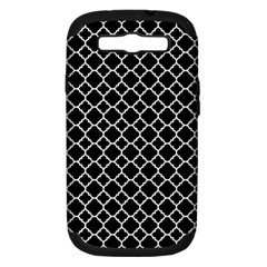 Black & White Quatrefoil Pattern Samsung Galaxy S Iii Hardshell Case (pc+silicone) by Zandiepants